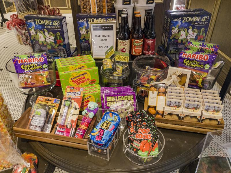 Interior view of a special candy shop in Glendale Galleria. Glendale, OCT 28: Interior view of a special candy shop in Glendale Galleria on OCT 28, 2017 at royalty free stock photo