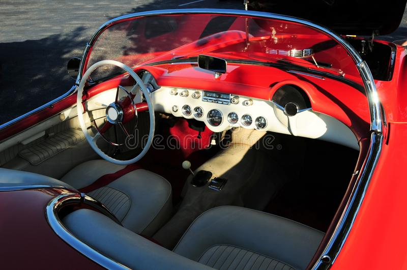 Interior view sports car. An inside view of a convertible sports car parked in a South Florida parking lot royalty free stock photos