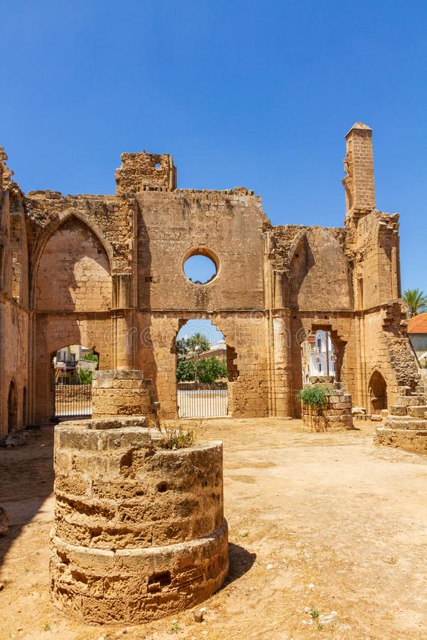Interior view of of St George of the Greeks Church, inside medieval Famagusta, Cyprus. Interior view of the ruins of St George of the Greeks Church, inside royalty free stock photography