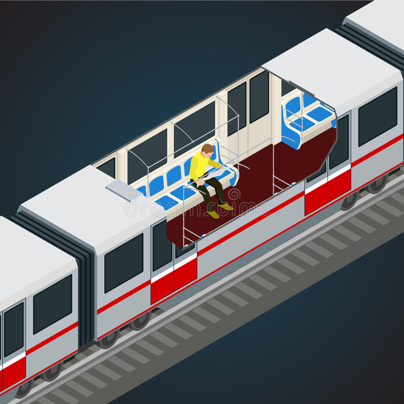 Interior view of a subway car. Train, Subway. Transport. Vehicles designed to carry large numbers of passengers. Flat royalty free illustration