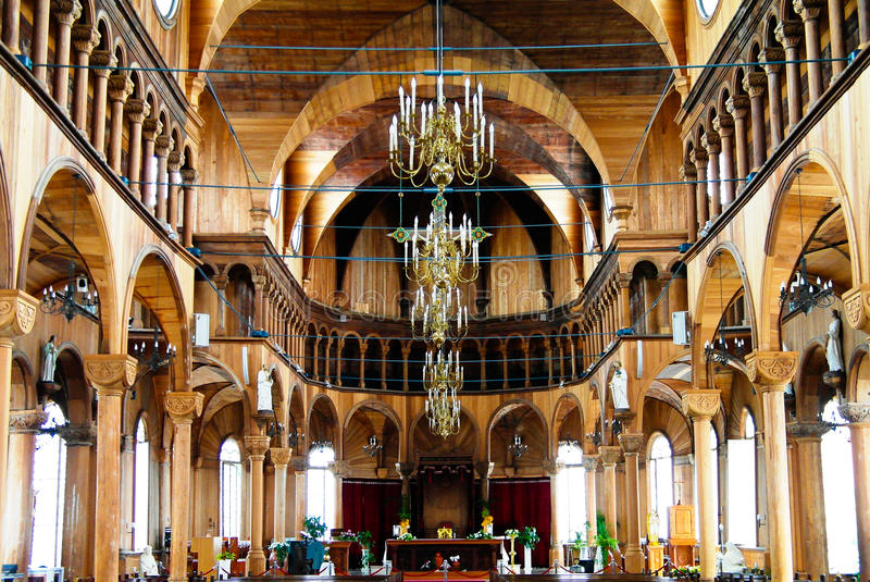 Interior view to Saint Peter and Paul Cathedral, Paramaribo, Suriname stock photography