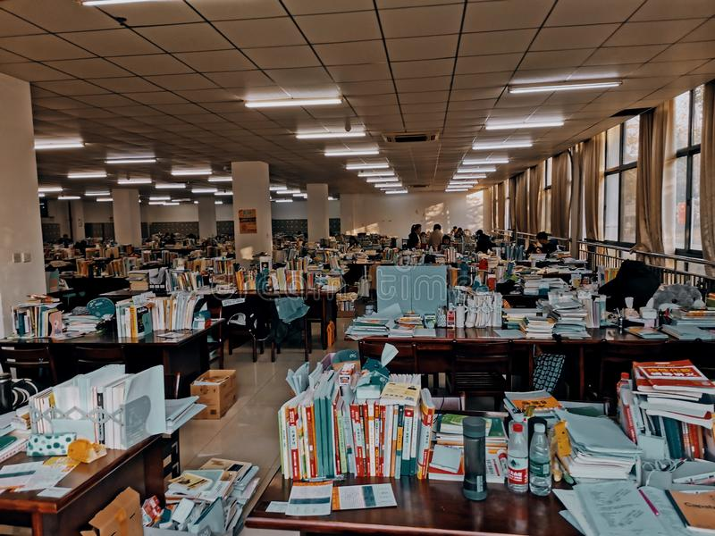Interior view of university library study room in Wuhan china. Interior view of university library study room in Wuhan city hubei province china stock photos