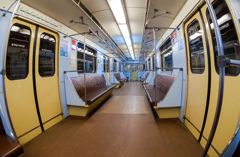 Interior view of the wagon train in subway stock image