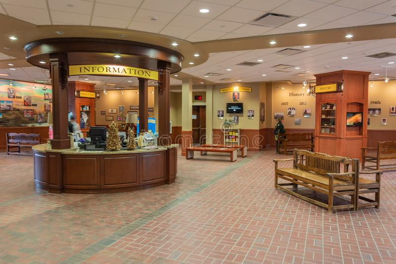 Interior view of the welcome center at Blue Bell Creameries factory in Brenham, TX. Brenham, Texas, United States of America - December 27, 2016. Interior view royalty free stock photo