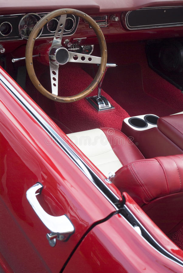 Interior of a vintage car royalty free stock photography