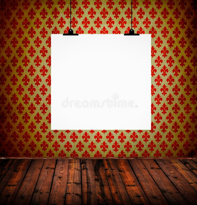 Interior of vintage room with damask wall and blank paper royalty free stock photo