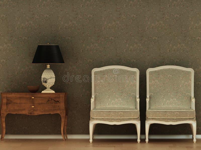 Interior vintage two armchair dark wallpaper room design.  royalty free illustration