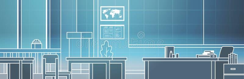Interior virtual del sitio de clase con la línea fina tecnología de la sala de clase del tablero y de los escritorios de Vr ilustración del vector