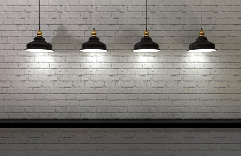 Interior wall illuminated by lamps above. 3d render of minimalist shelf, modern art, minimalist design royalty free illustration