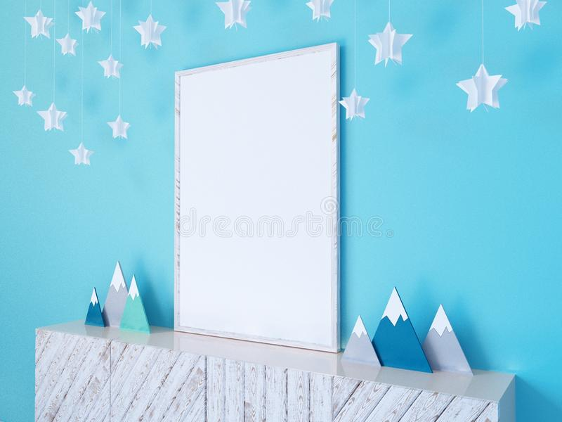 Interior wall mock up with poster, paper stars, pillows and blue clouds on white wall background, 3D rendering, 3D illustration stock illustration