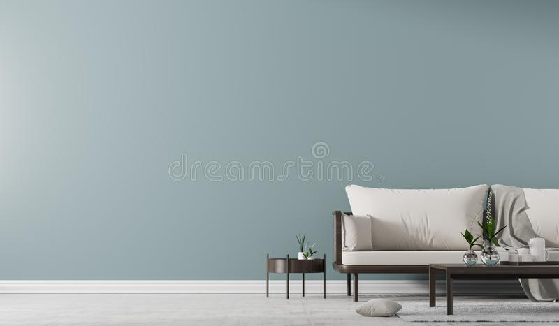 Interior wall mock up with Scandinavian style sofa with coffe table. Minimalist interior design. 3D illustration stock photo