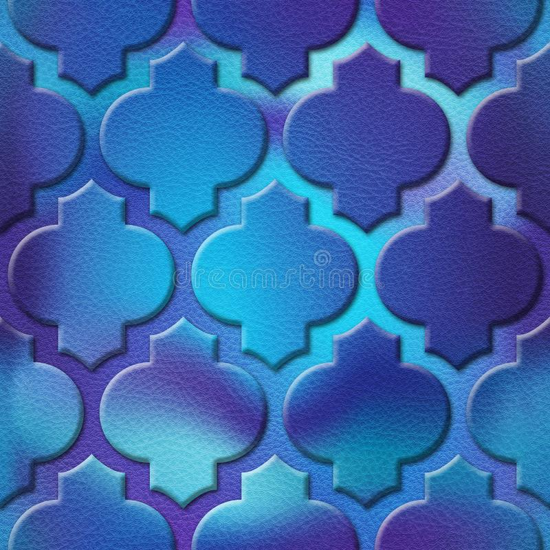 Interior wall panel pattern - abstract decoration material - Arabic decor - geometric patterns. Seamless background - bluish surface stock photo