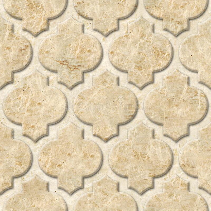 Interior wall panel pattern - abstract decoration material - Arabic decor - geometric patterns. Seamless background - marble surface royalty free stock photo