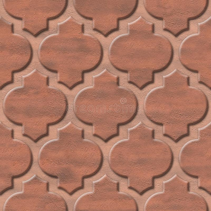 Interior wall panel pattern - abstract decoration material - Arabic decor - geometric patterns. Seamless background - red brick coloring stock image