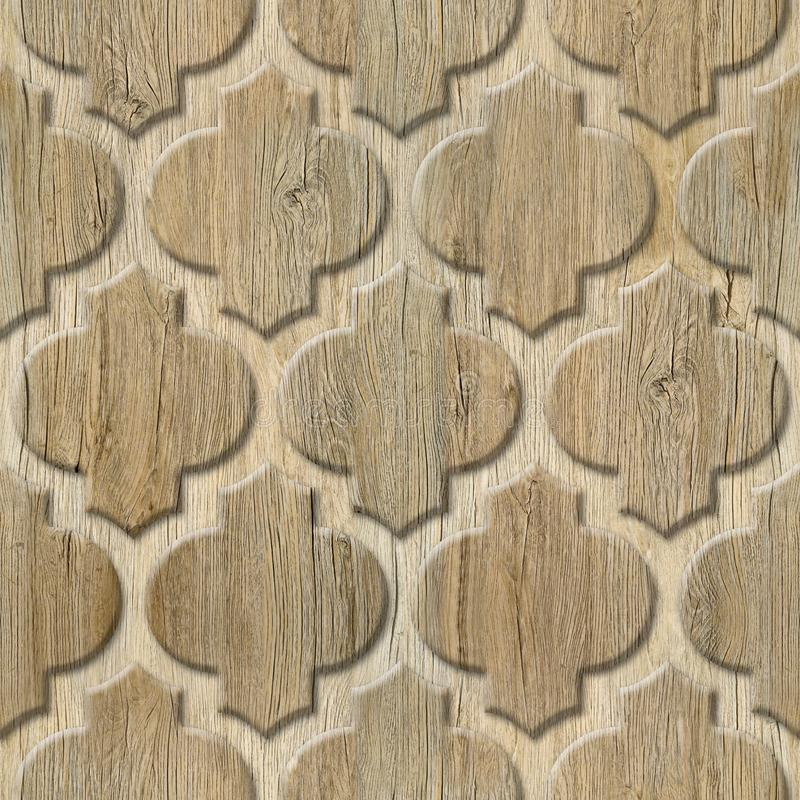 Interior wall panel pattern - abstract decoration material - Arabic decor - geometric patterns. Seamless background - wood texture stock photo