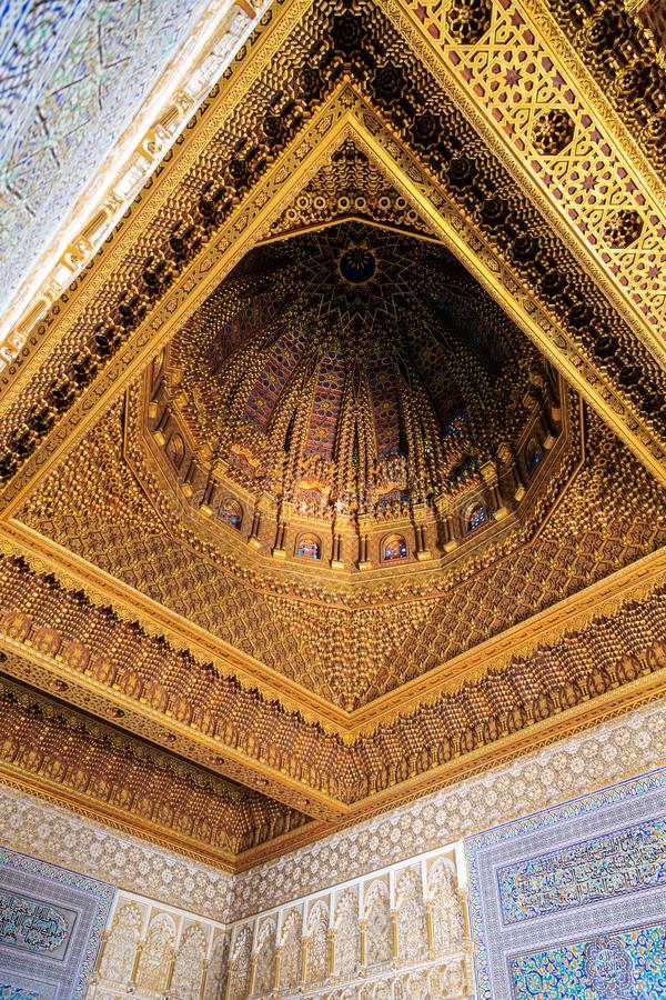 Interior walls and ceiling of the Mausoleum of Mohammed V in Rabat stock photos