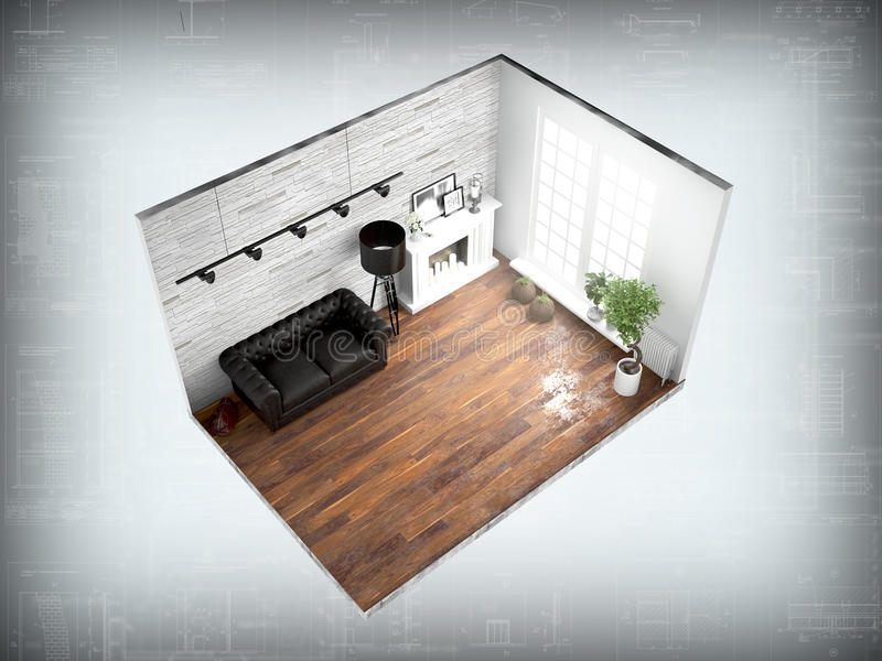 Interior without walls. 3D rendering. Concept interior with transparent walls. 3D rendering stock illustration