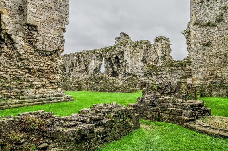 The interior walls of Middleham Castle royalty free stock image