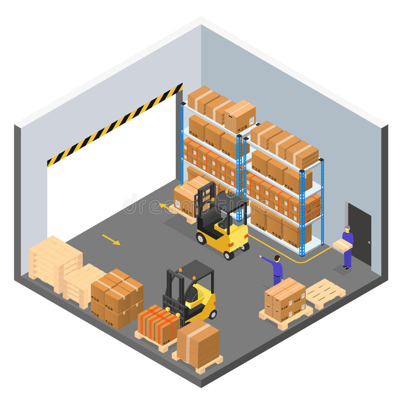 Interior Warehouse Building Isometric View. Vector royalty free illustration