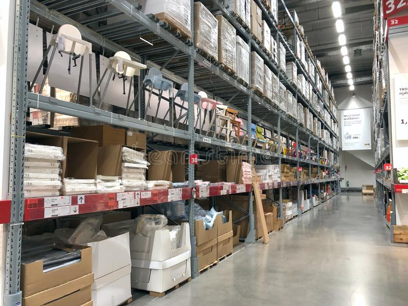 Interior of warehouse of IKEA store royalty free stock images