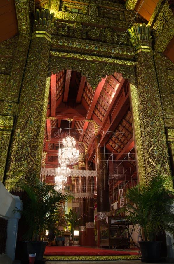 Interior Wat Bupharam At Night Royalty Free Stock Photo