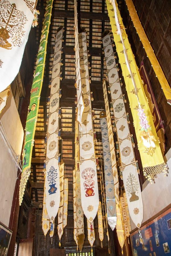 Wat Pan Tao. Interior of Wat Pan Tao, beautiful old wooden teak temple At Chiang Mai - Thailand stock photography