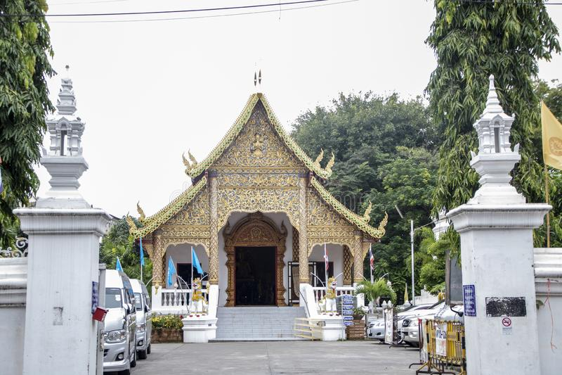 Wat Pan Tao. Interior of Wat Pan Tao, beautiful old wooden teak temple At Chiang Mai - Thailand royalty free stock image