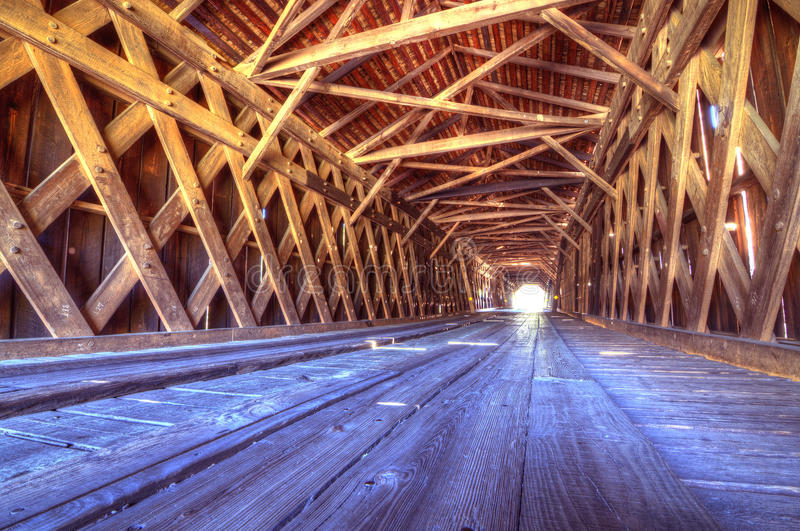 Interior of Watson Mill Covered Bridge. An historic covered bridge at Watson Mill Bridge State Park near Comer in Northeast Georgia, USA royalty free stock image