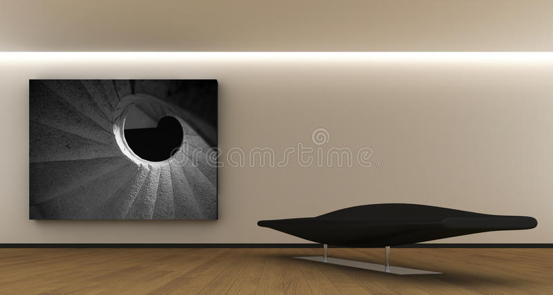 Interior whit a panel vector illustration