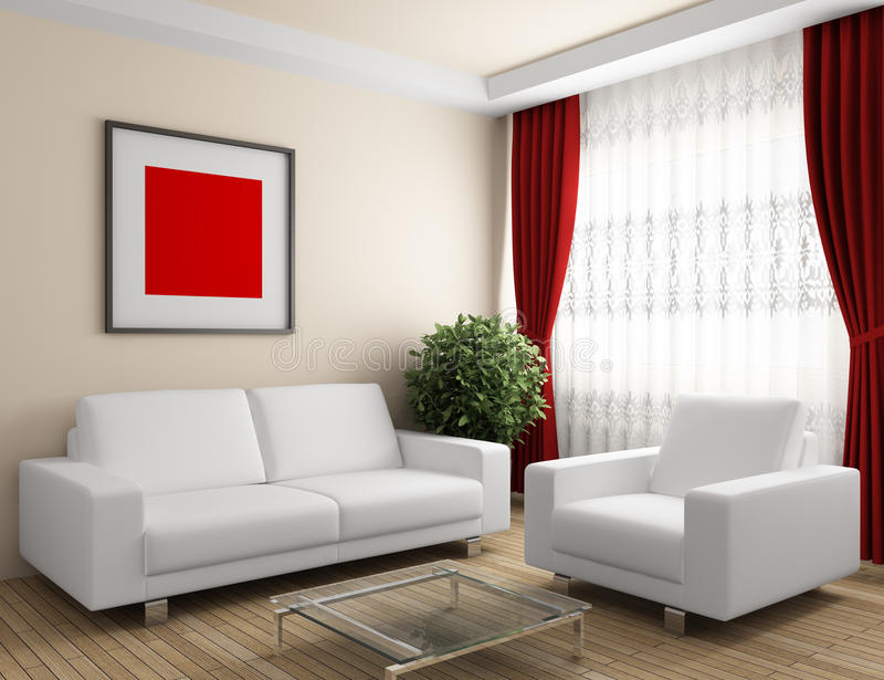 Interior with white furniture. And red curtain vector illustration