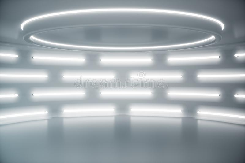 Interior white futuristic background, sci-fi interior concept. Empty interior with neon lights 3D illustration. Interior white futuristic background, sci-fi stock photo