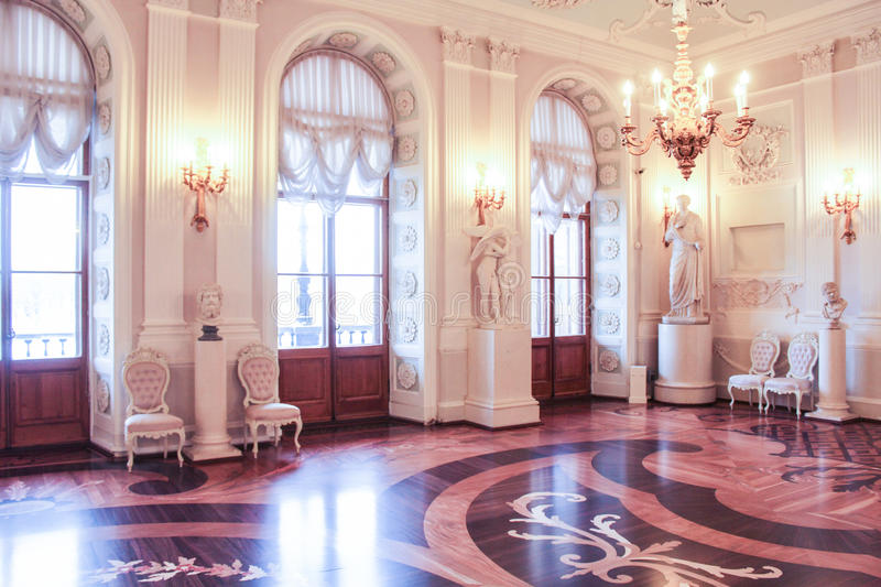 Interior White Hall of the Gatchina Palace. royalty free stock images