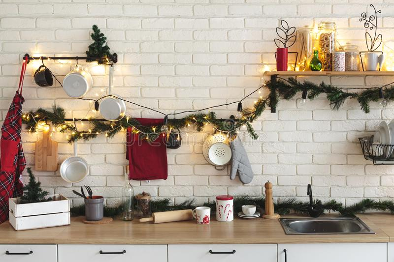 Interior White Kitchen With Lights And Red Christmas Decorations Stock Photo Image Of Light Empty 163581572
