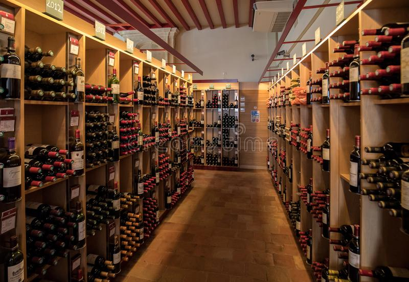 Interior of a wine shop in Saint Emilion in France. St Emilion is one of the principal red wine areas of Bordeaux and very popular royalty free stock photos