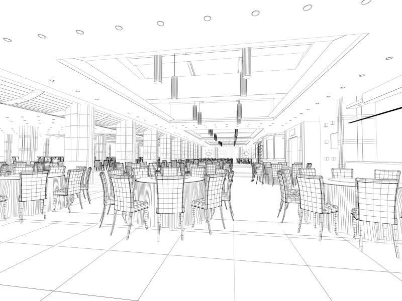 Interior wireframe plan stock photos