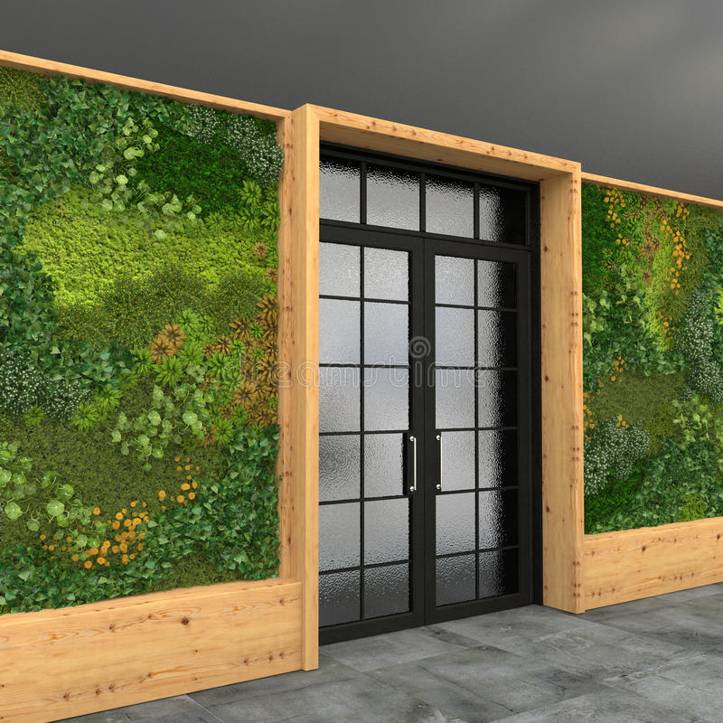 Free Interior With A Glass Entrance Door And Green Wall With Vertical Gardening. Style Loft. 3D Visualization. Royalty Free Stock Photo - 87341855