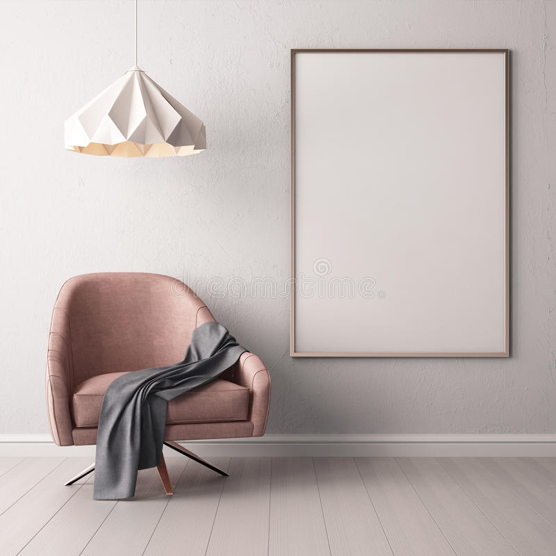 Free Interior With Armchair And A Table On A Background Of A Marble Wall, 3d Render, 3d IllustrationMock Up Poster In The Interior With Royalty Free Stock Photo - 90782865
