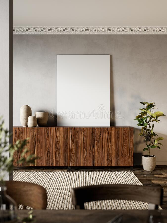 Free Interior With Wood Dresser, Plants And Carpet. Stock Photo - 196638220