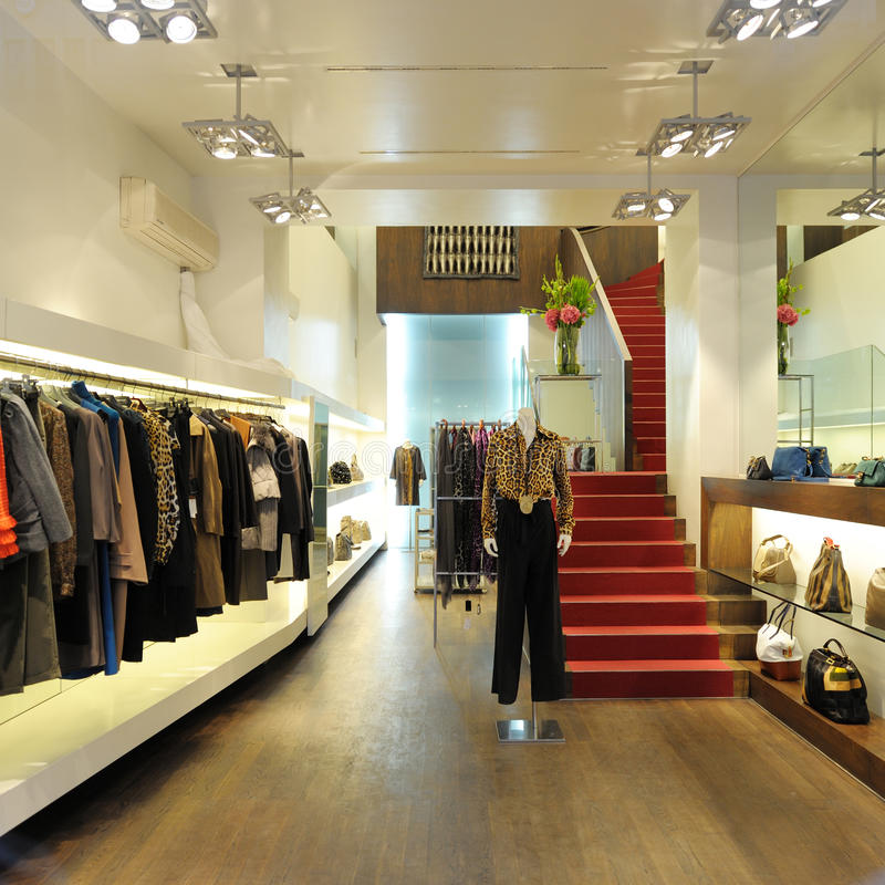 Interior of a women boutique store stock image