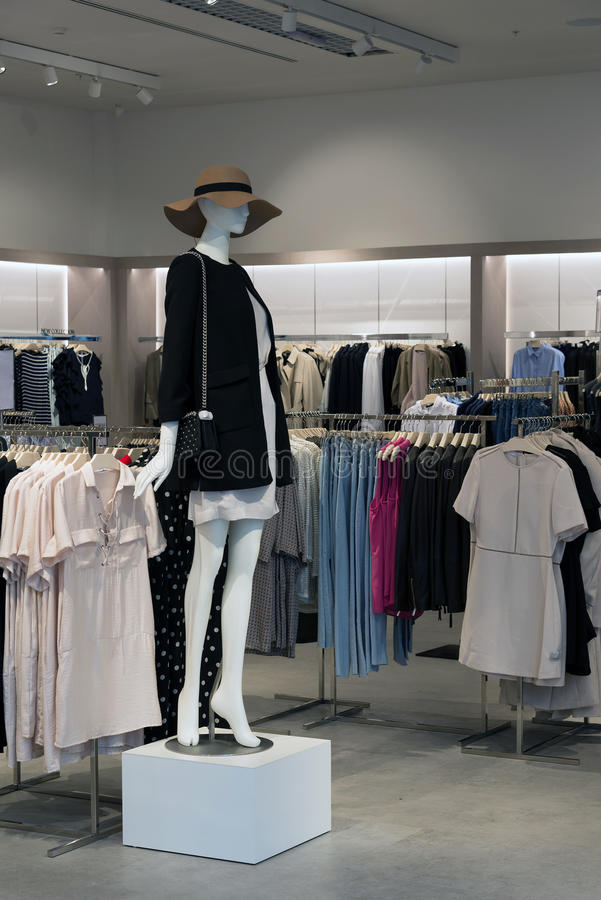 Interior of the womens clothing store with mannequins royalty free stock photos