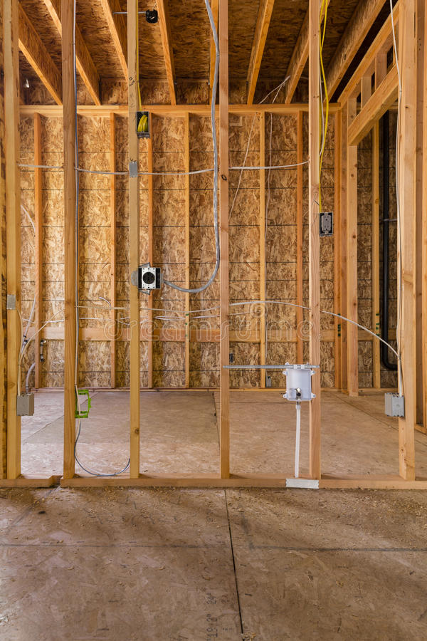 download interior wood frame construction electrical stock photo image 60866380 - Wood Frame Construction