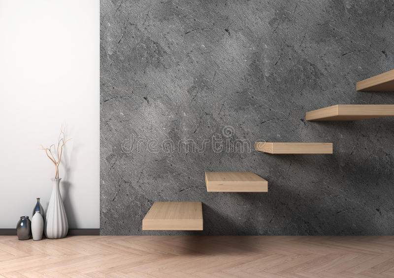 Interior of wood stair and vase ceramic. 3d illustration.  royalty free illustration
