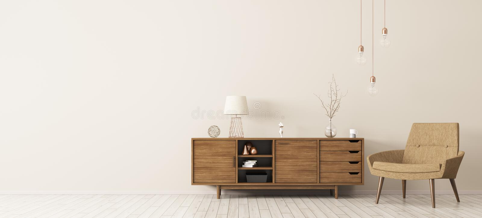 Interior with wooden cabinet and armchair 3d rendering. Modern interior of living room with brown wooden cabinet and armchair panorama 3d rendering stock illustration