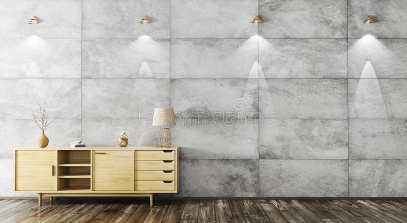 Interior with wooden cabinet 3d rendering vector illustration