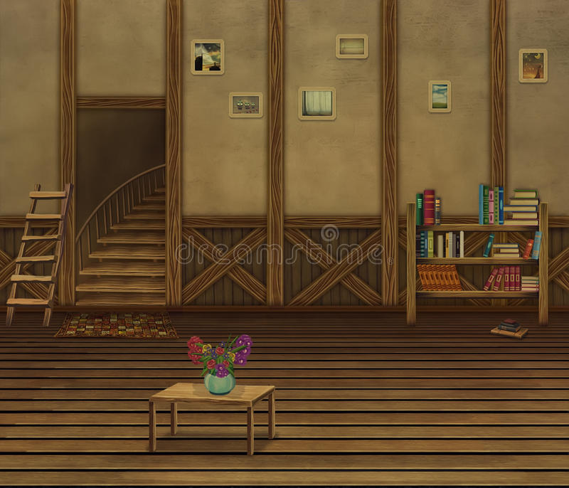 Download Interior With Wooden Floors And An Old Wall Stock Illustration - Image: 31912423