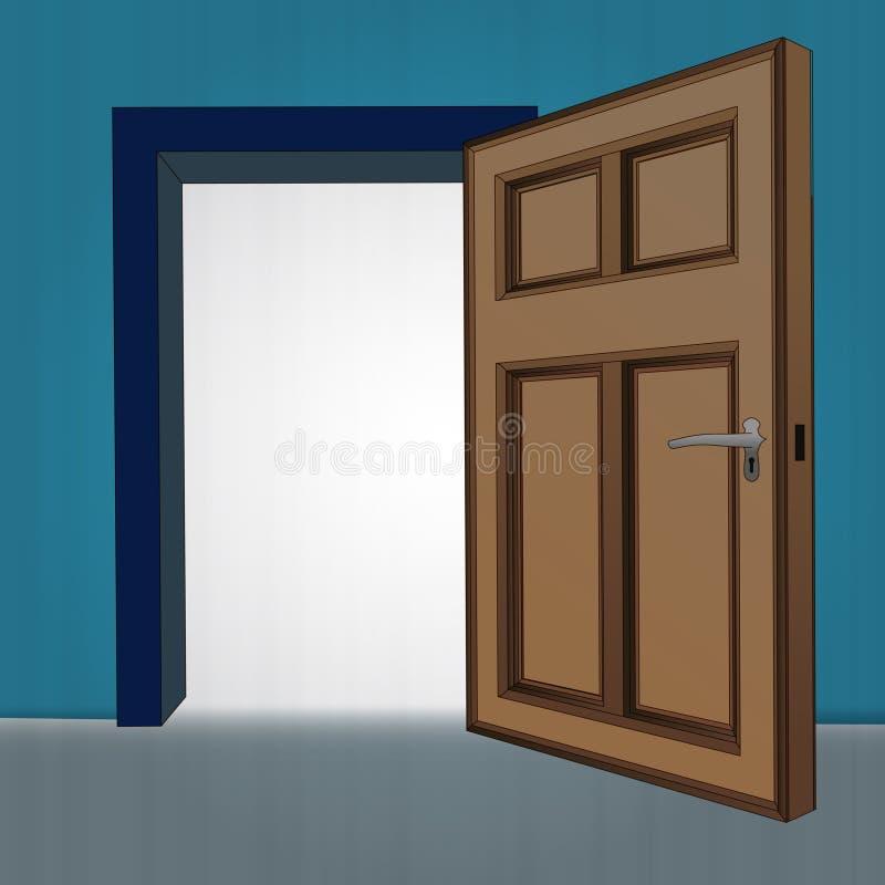 Interior wooden open door at blue wall stock illustration