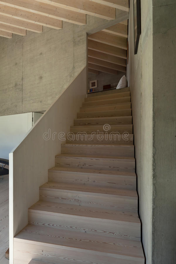 Interior, wooden staircase stock images
