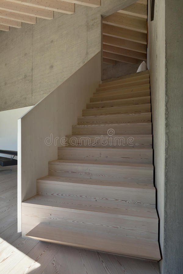 Interior, wooden staircase royalty free stock image