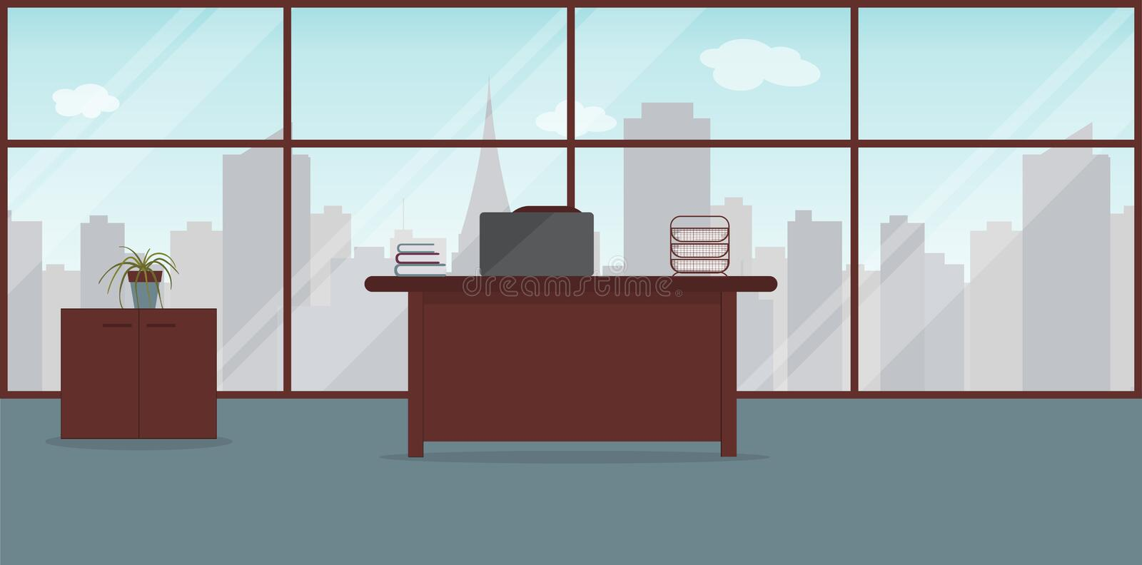 Interior of working place in the modern office.Large window with city landscape with skyscrapers.Vector illustration. Furniture:. Table, chair, cabinet,paper vector illustration
