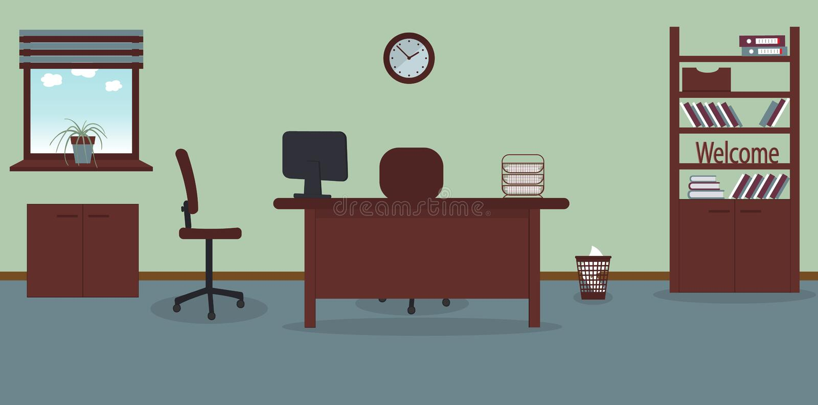 Interior of working place in the office on the light green background. Vector illustration.Furniture: table, chair, cabinet with. Folders and books.Wall clock vector illustration